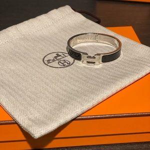 Hermès Clic H Tartan Bracelet Black and Silver